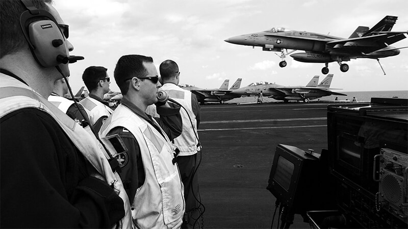 Photograph of Navy air craft carrier and broadcast mic