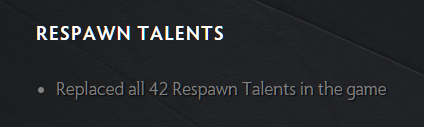 Respawn Talents patch notes screenshot