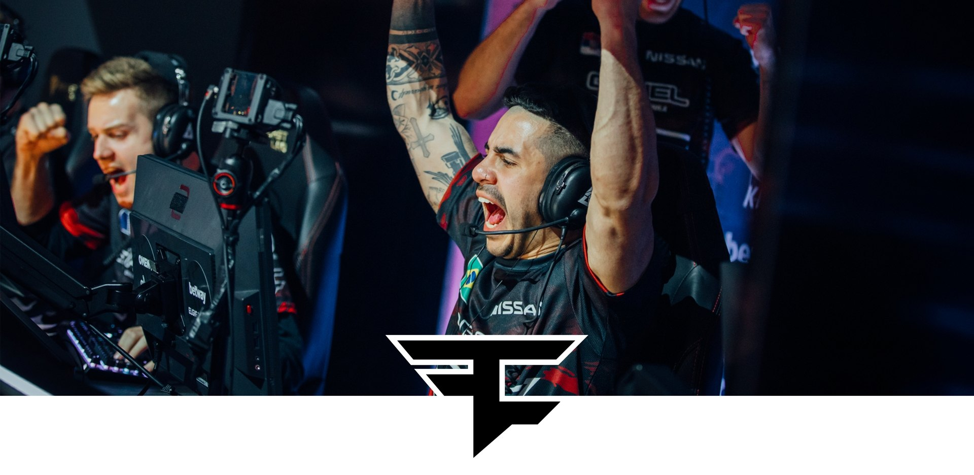 Team FaZe logo with them winning a trophy