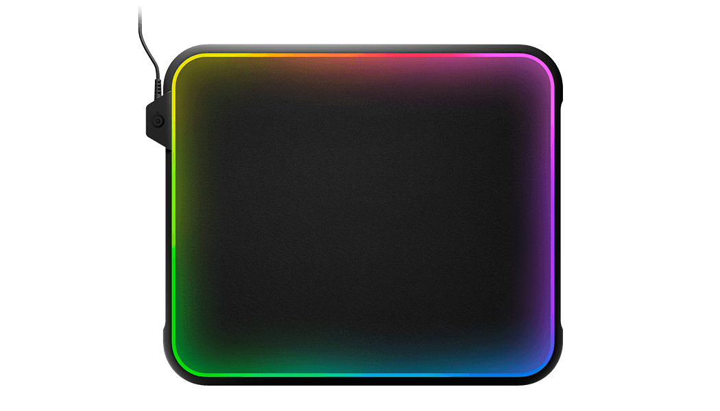 QCK Prism gaming mousepad with RGB around edges, face on view
