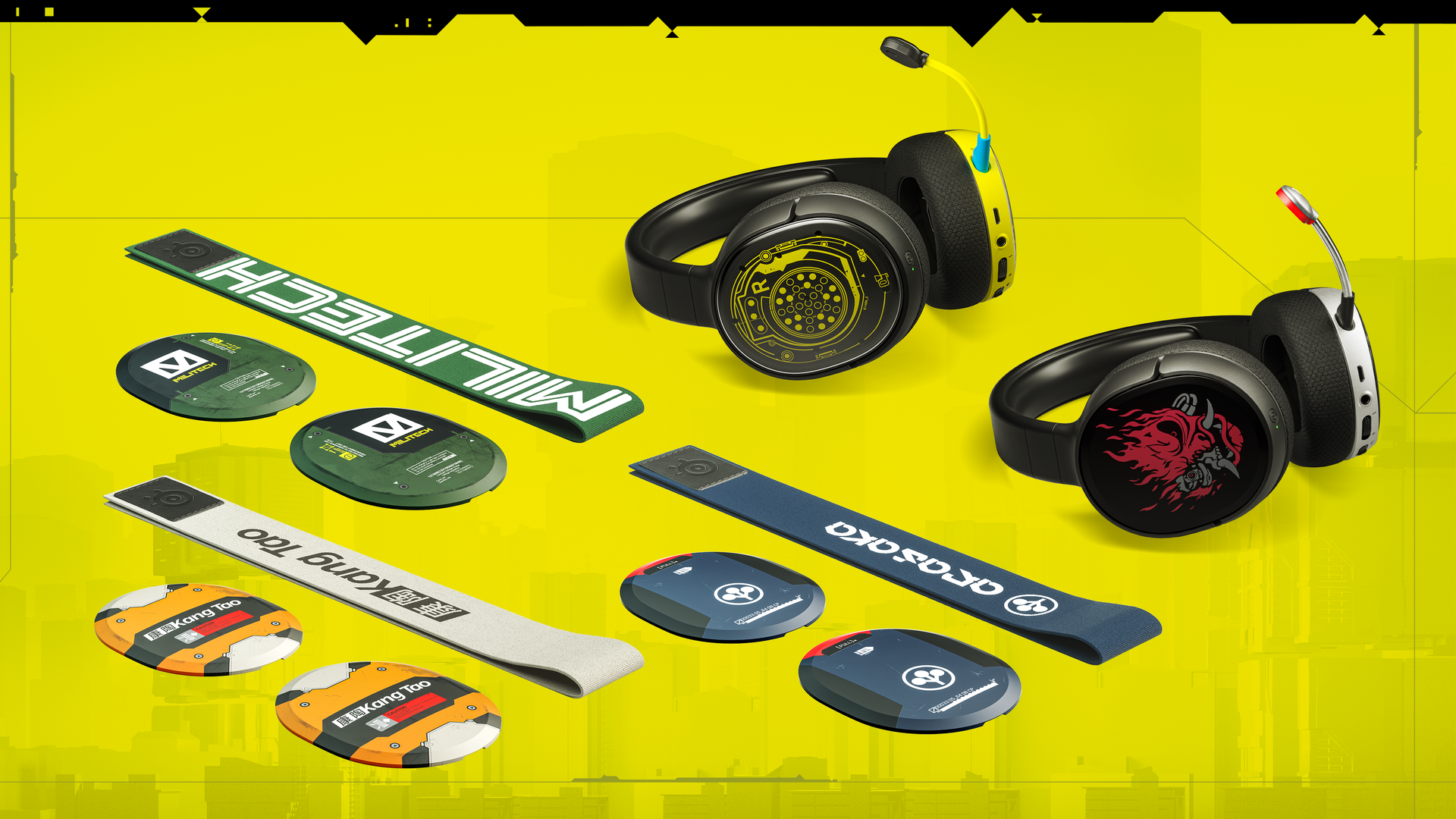 Both Cyberpunk SteelSeries gaming headsets on tabletop with the game branded headbands next to them