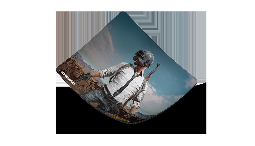 QcK+ PUBG Miramar Edition gaming mousepad, top corner lifted