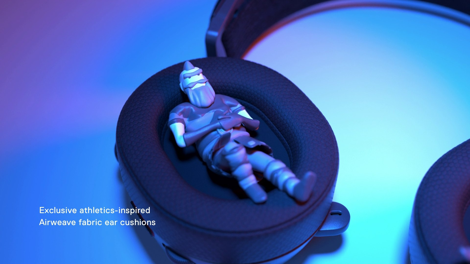 A small icon figure laying comfortably in the Arctis Ear Cup
