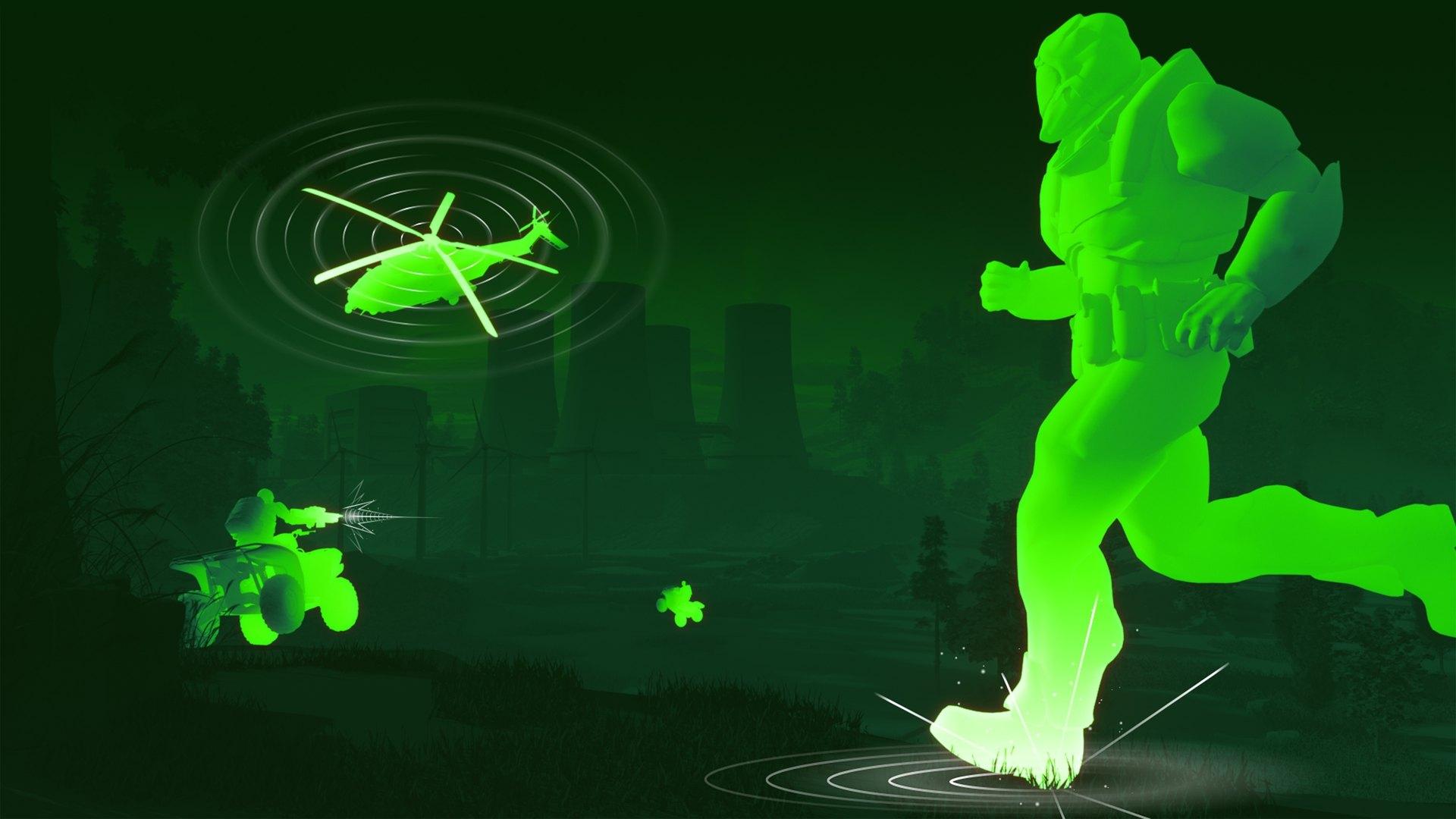 Image de jeu avec des pas de soldat faisant du bruit et des ondes acoustiques provenant de ses pas