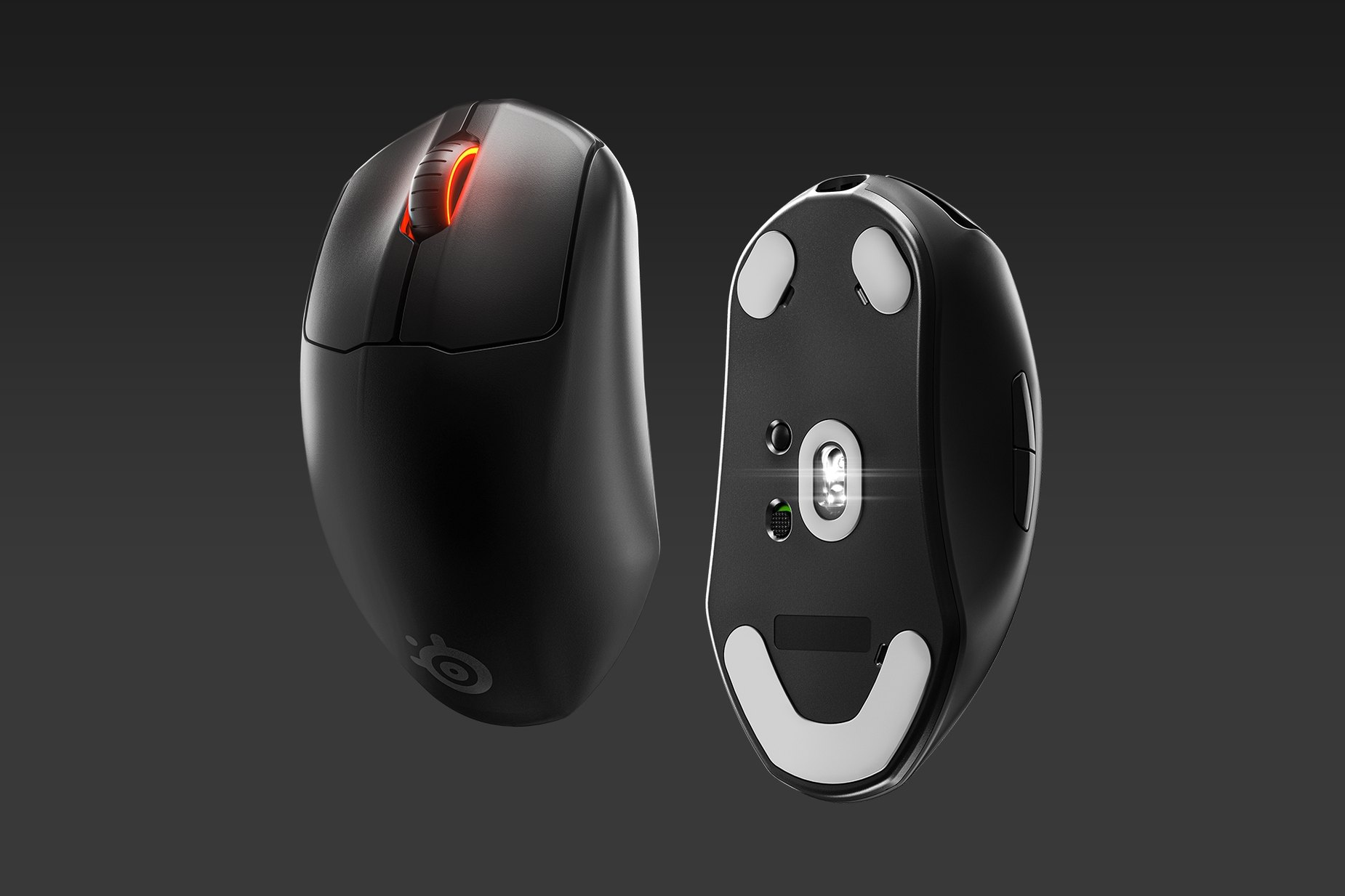 Two Prime Wireless mice: one showing the palm rest and the other showing the sensor.