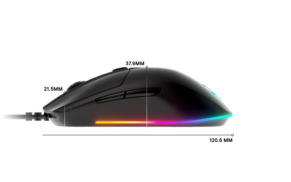 Rival 3 side dimensions: length 120.6mm, height front 21.5mm, height middle 37.9mm
