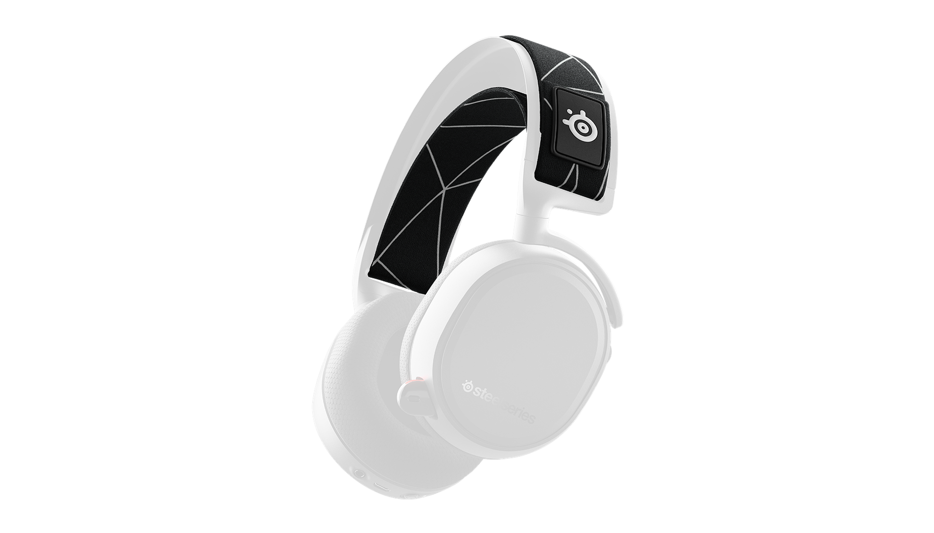 A render of the Arctis 9 headset with the headset opacity lowered and the headband highlighted