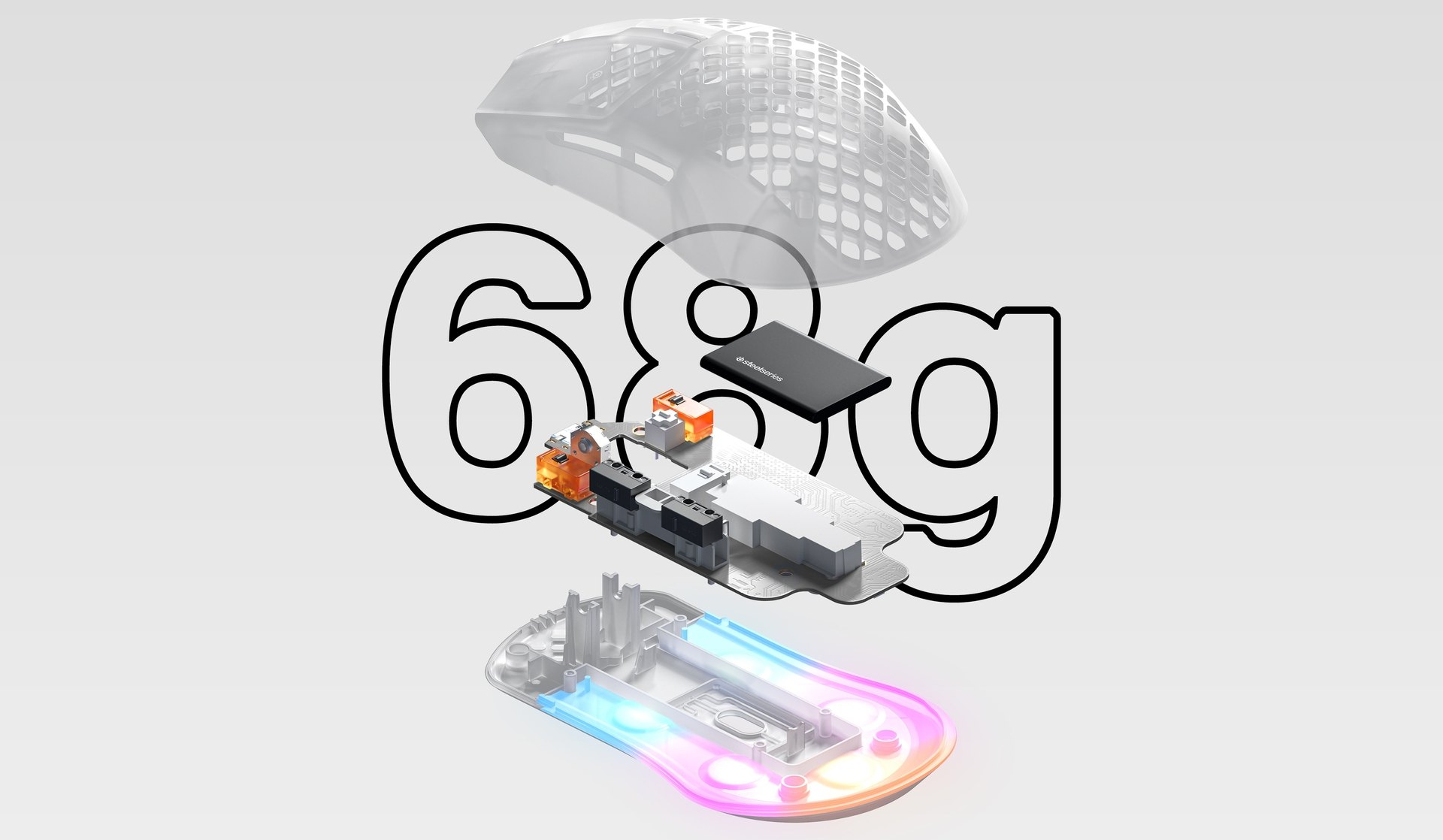 An illustration showing the lightweight components of the Aerox 3 Wireless Ghost mouse. Text reads: 68 Grams.