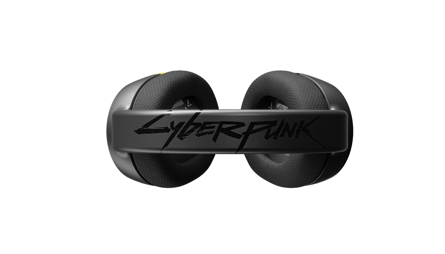 Arctis 1 Wireless Cyberpunk Edition gaming headset top angle showing the Cyberpunk branding on the headband