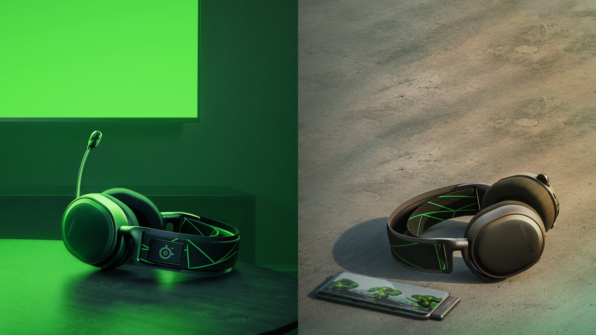 Dual images of the arctis 7x headset to show that headset can be wireless no matter where you take it.