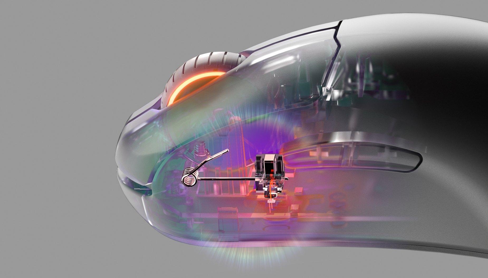 Een close-up van de Prestige OM-schakelaar.