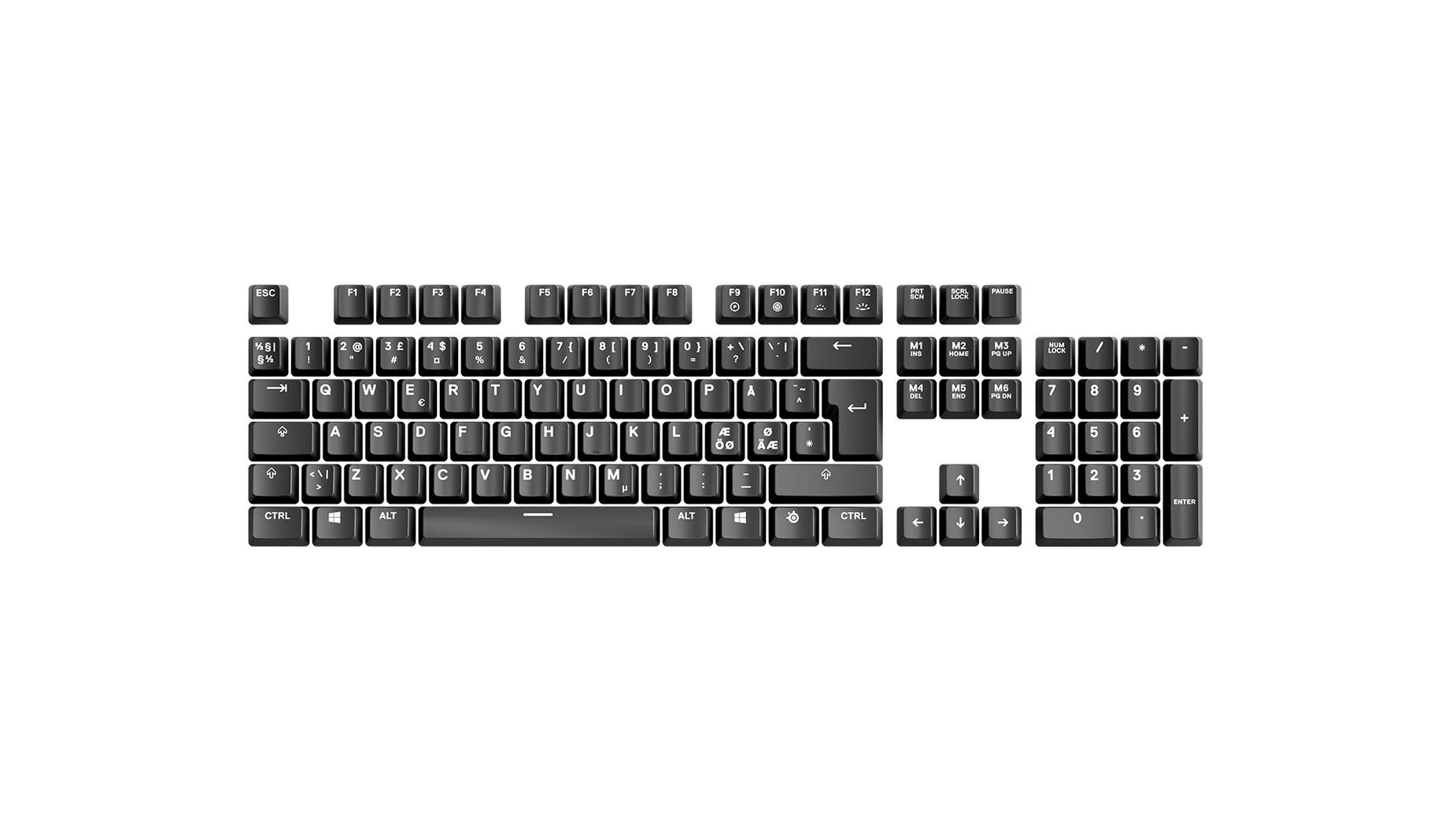 Norwegian replacement keycap sets laid out in QWERTY