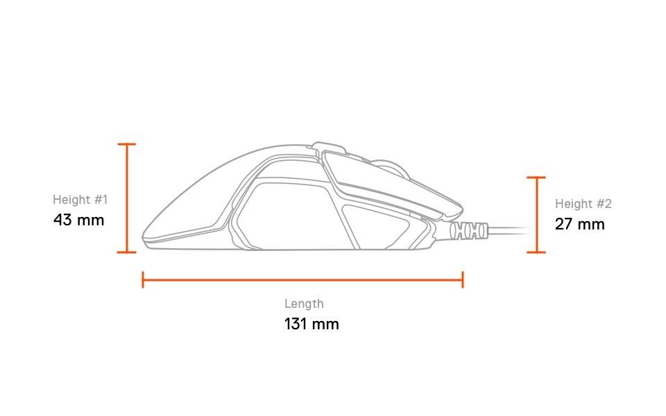 Rival 600, dimensioner från sidan: längd 131 mm, höjd #1 baksida 43 mm, höjd #2 front 27 mm