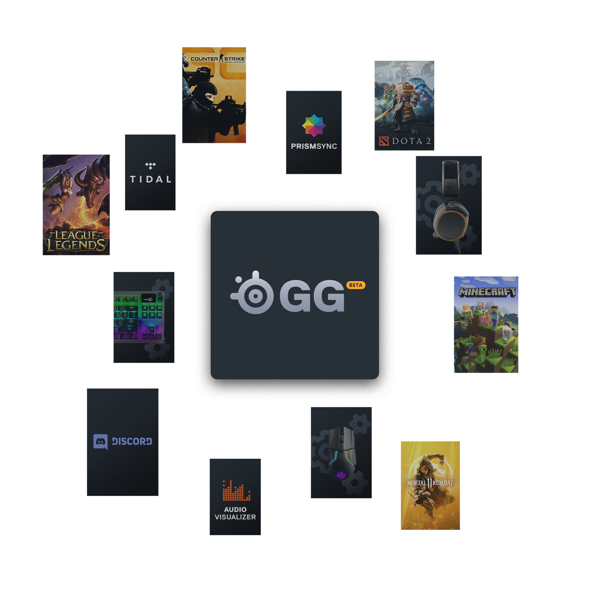 SteelSeries GG BETA; League of Legends, Counter Strike Global Offensive, Tidal, PRISMSYNC, DOTA 2, MINECRAFT, MORTAL KOMBAT 11, AUDIO VISUALIZER, Discord