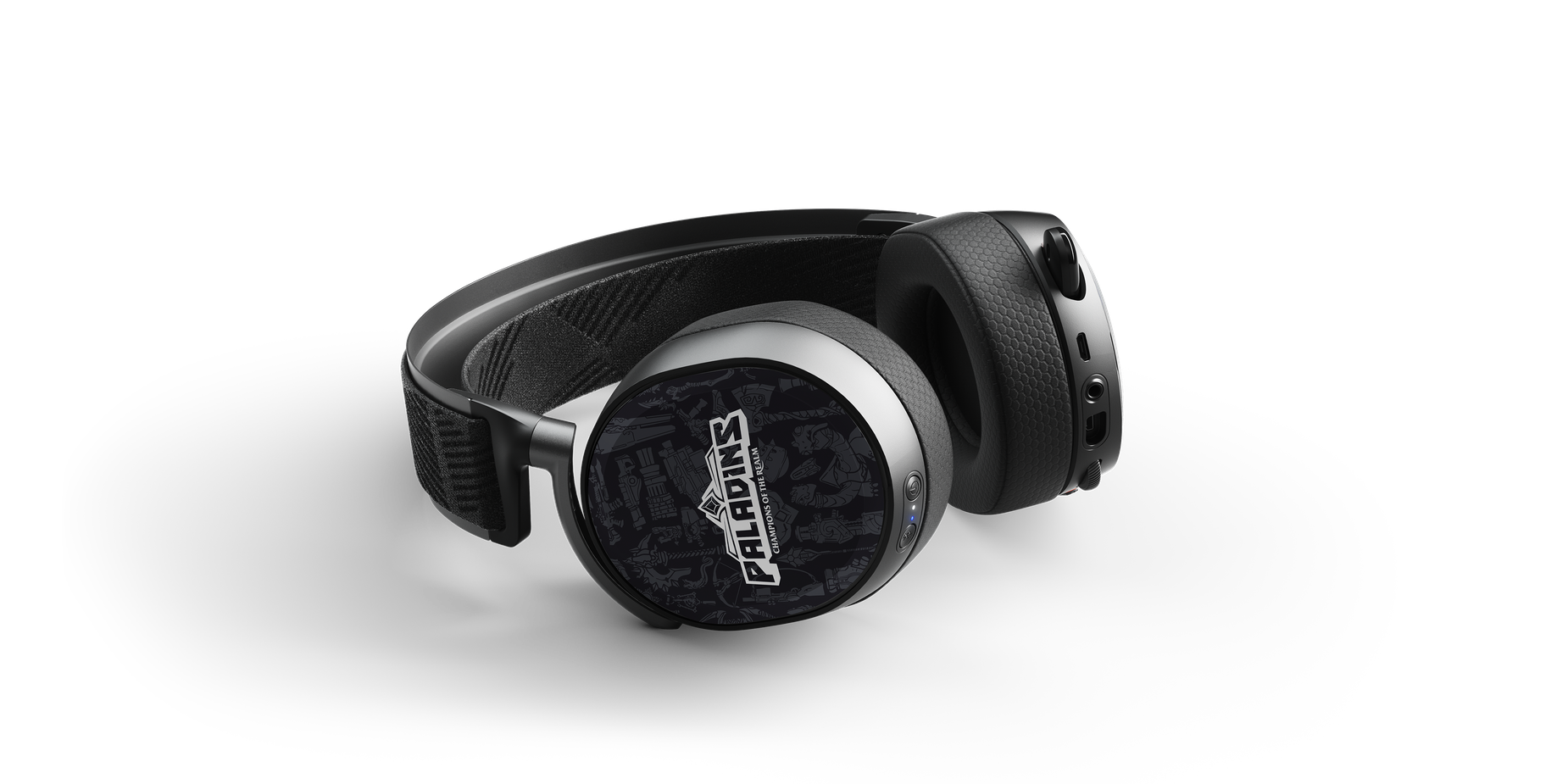 Arctis Pro headset render laying flat with Paladins speaker plates attached