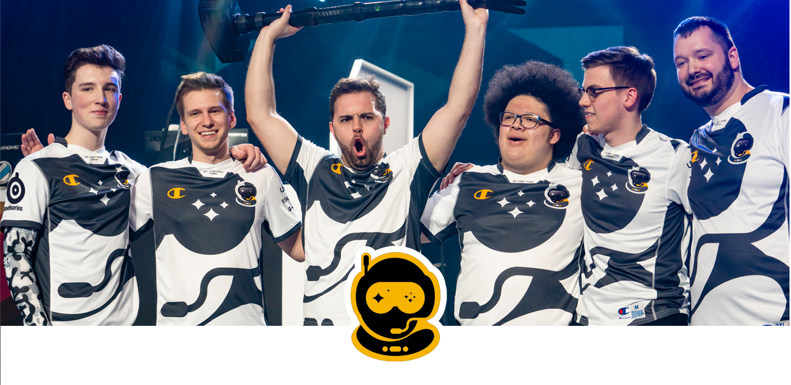Team OG logo with them celebrating at a tournament