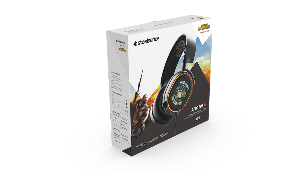 Arctis 5 PUBG packaging and box