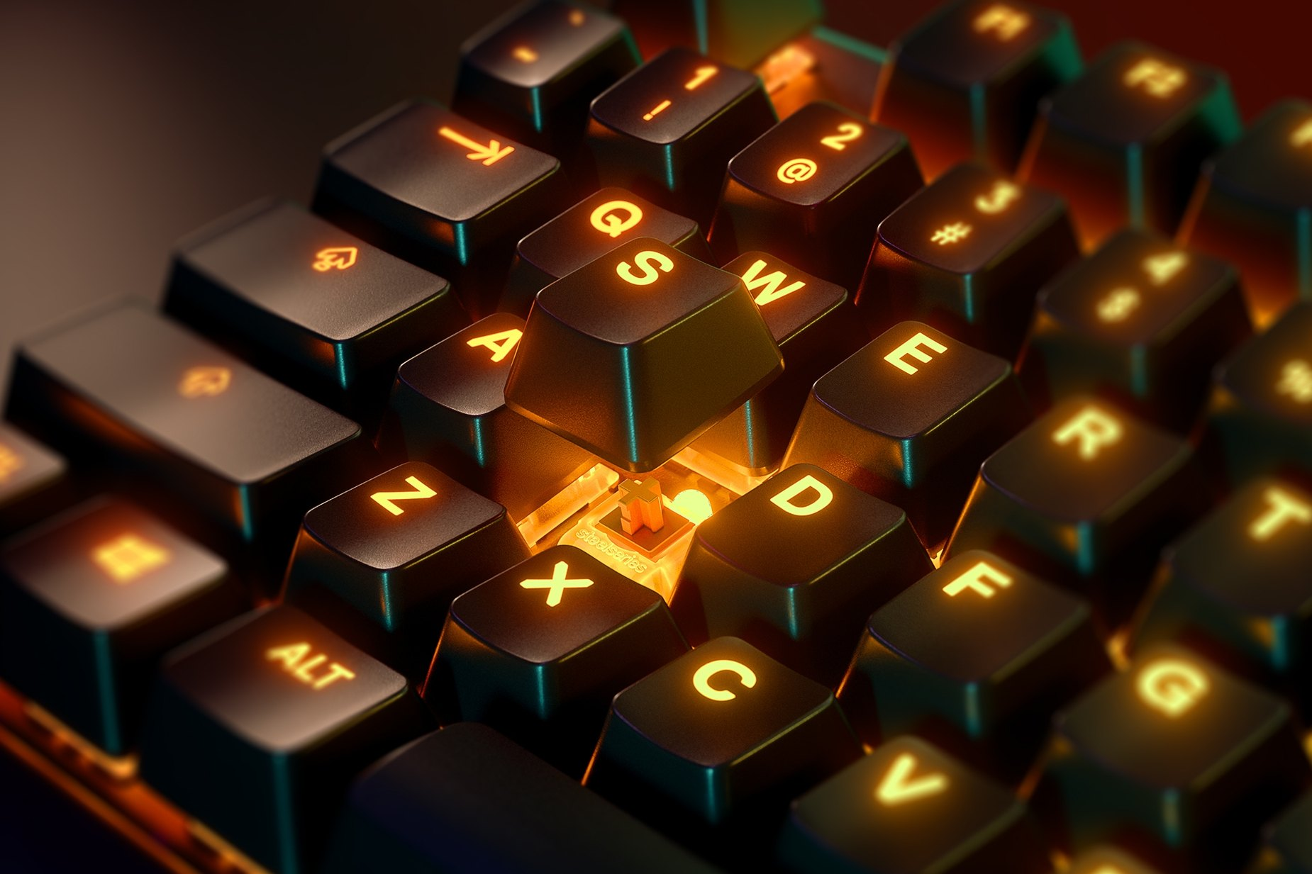 Zoomed in view of a single key on the French-Apex 7 (Brown Switch) gaming keyboard, the key is raised up to show the SteelSeries QX2 Mechanical RGB Switch underneath