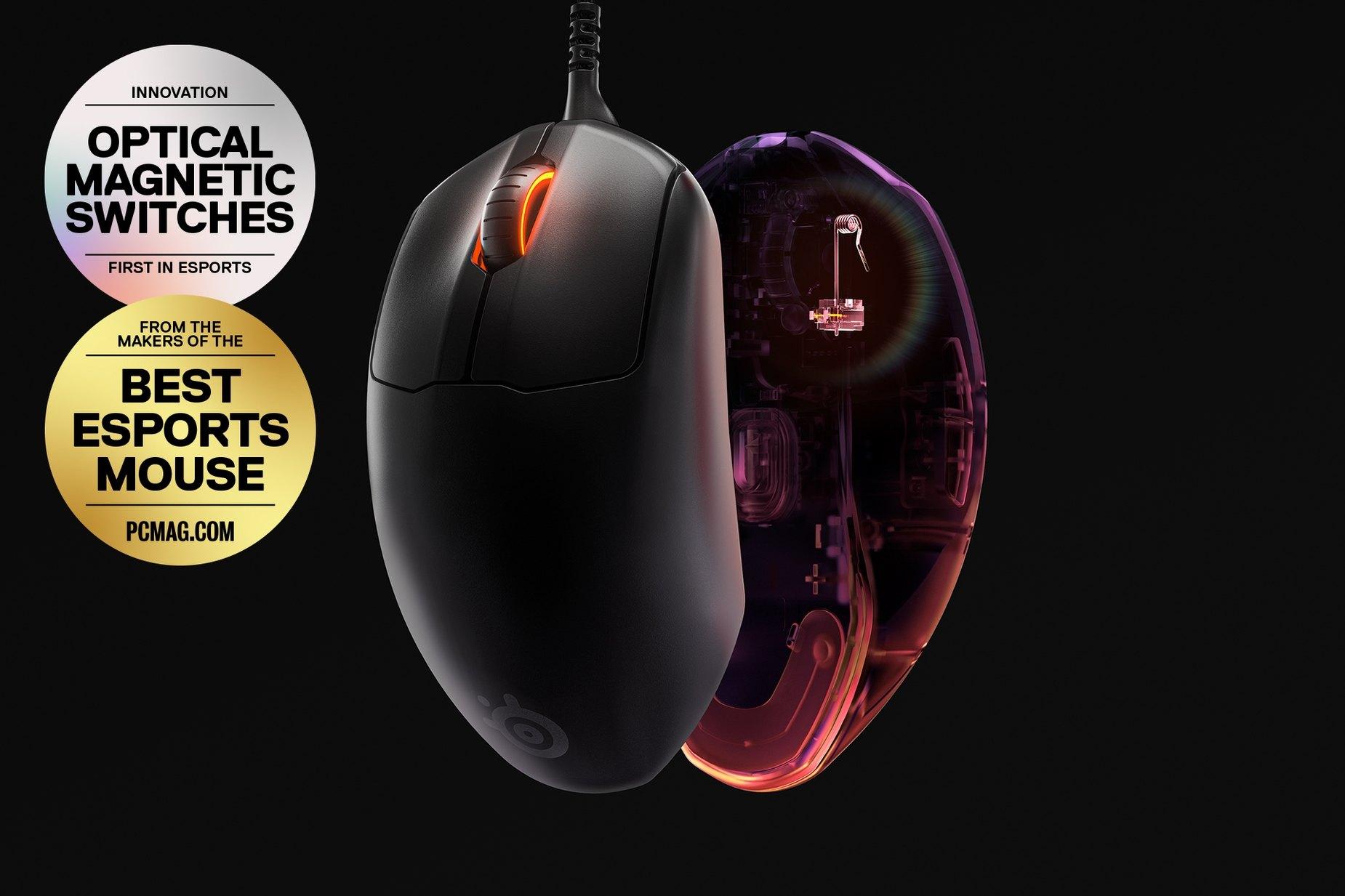 兩支 Prime 滑鼠:一支展示掌托,另一支展示感應器。