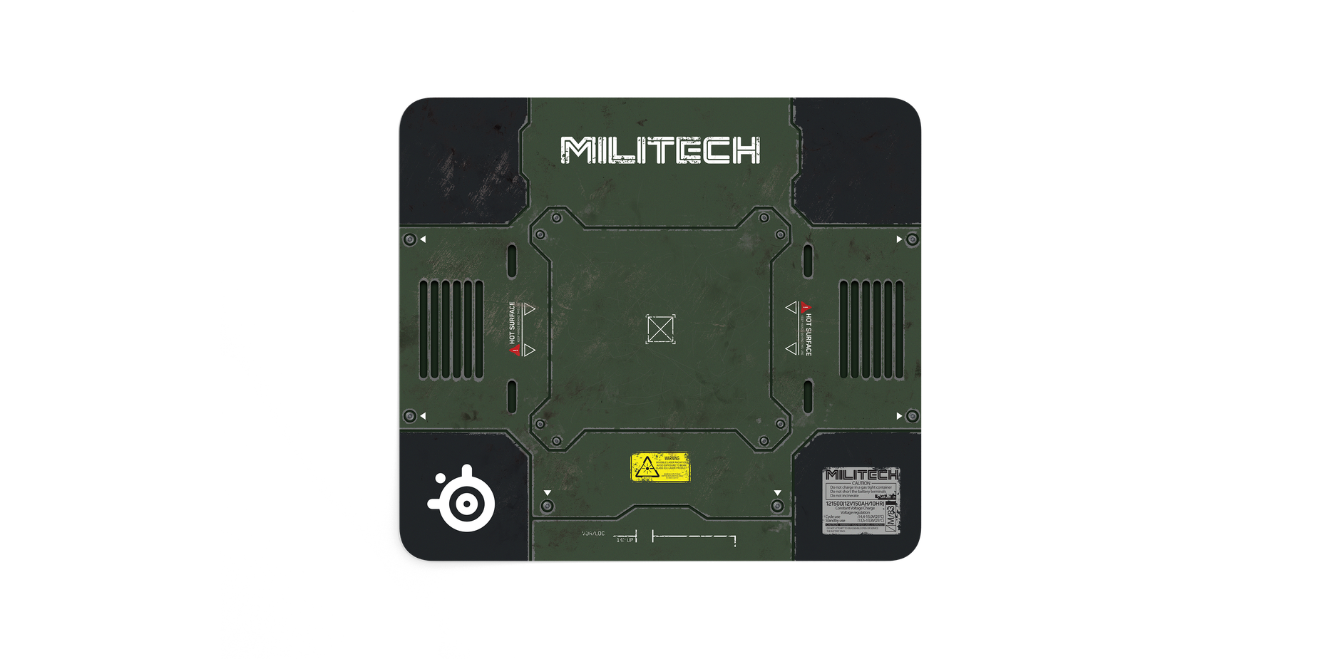 QcK Cyberpunk Militech mousepad front on showing the entire mousepad artwork