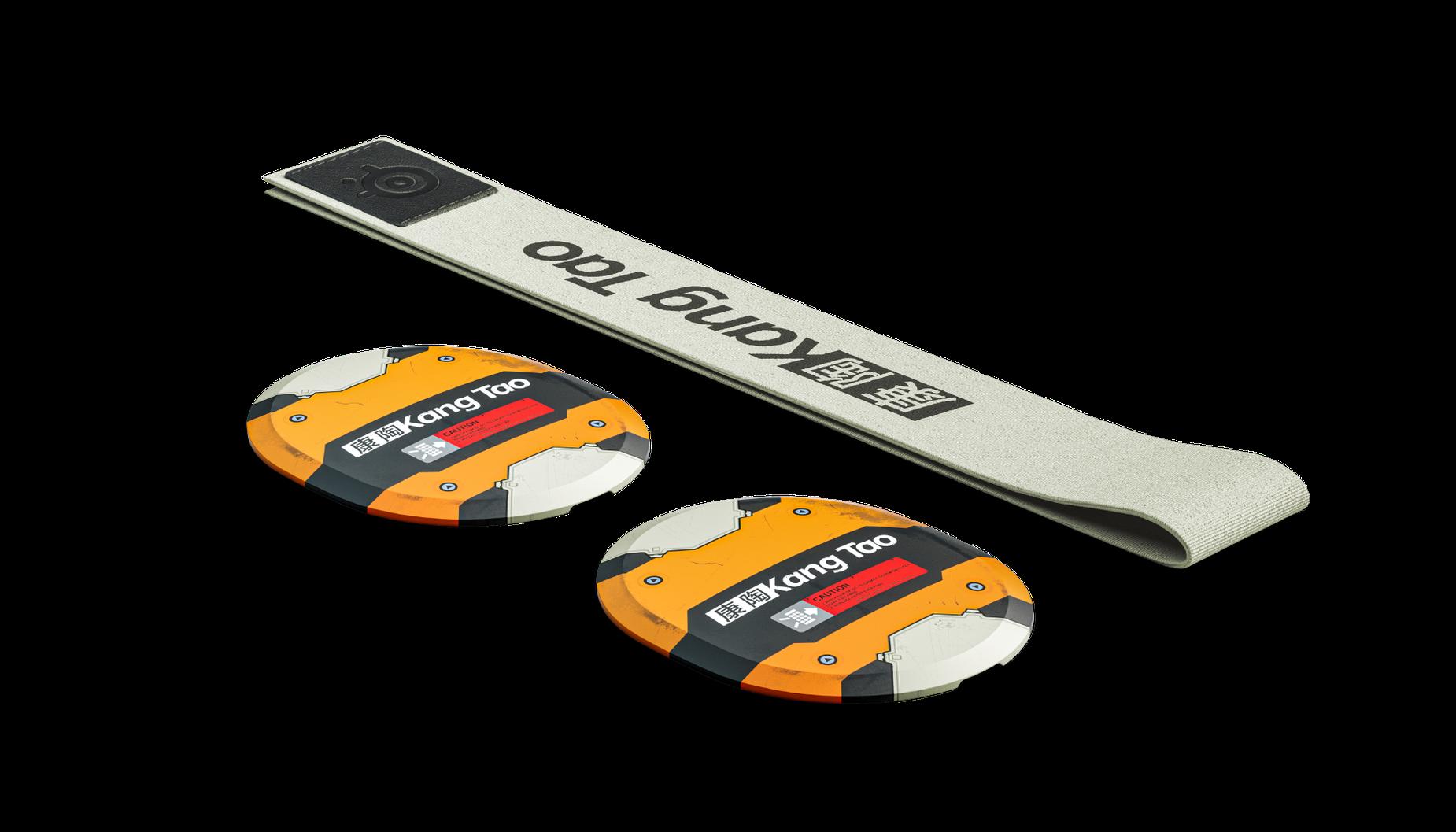 Les plaques et le bandeau de masque de ski Cyperbpunk Kangtao posés à plat