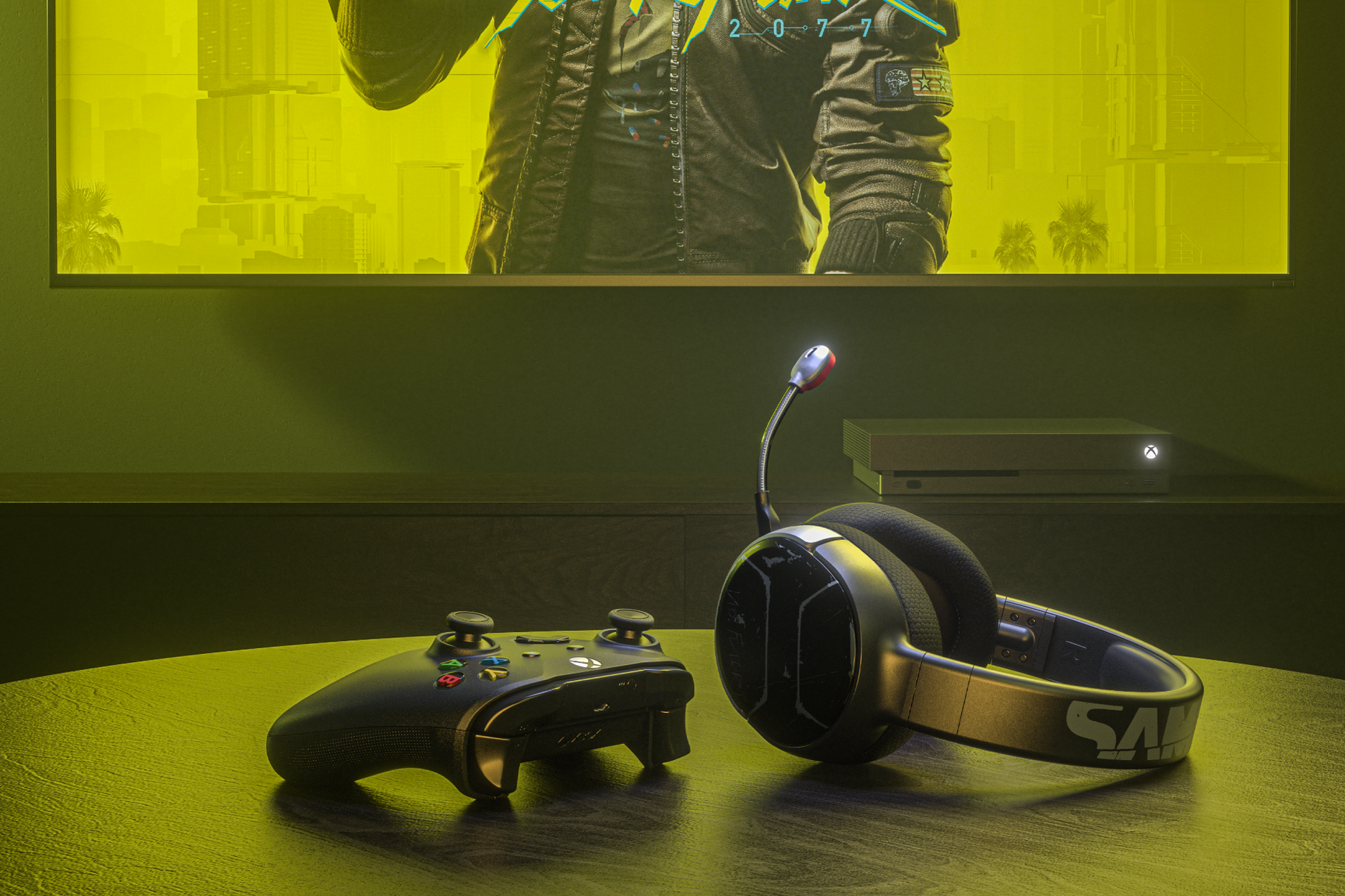 Arctis 1 Wireless for Xbox Cyberpunk Edition gaming headset on table with an Xbox controller and an Xbox game console in the background