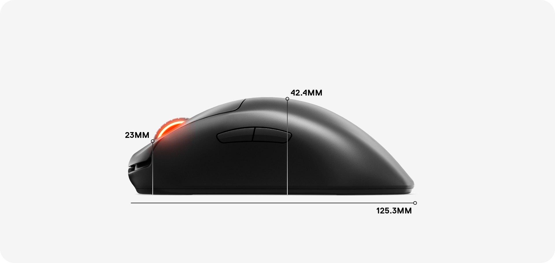Dimensionen der Maus: 125,3mm Länge, 42,4mm von der Handballenauflage bis zur Unterseite und 23mm vom Scrollrad bis zur Unterseite.