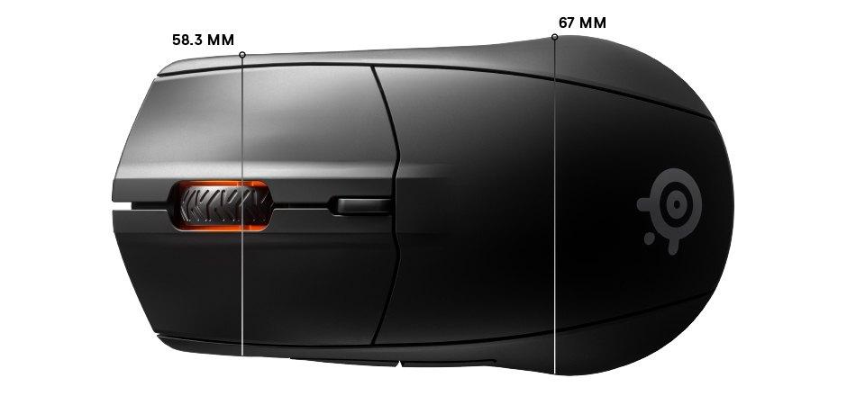 Rival 3 Wireless top dimensions: width front 58.3mm, width rear 67mm