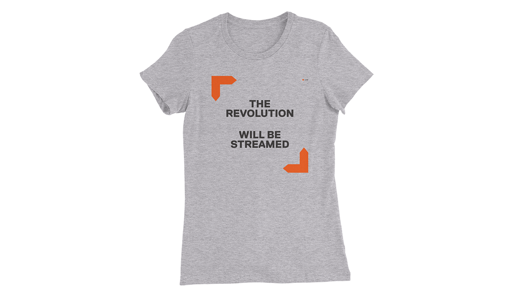 "Women's The Revolution T-Shirt – L, front shows ""The Revolution Will Be Streamed"" with live camera icons"