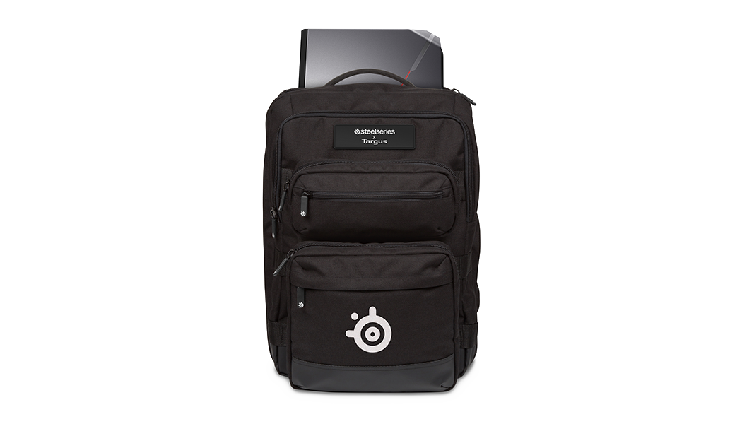 "Targus X SteelSeries Sniper 17.3"" Backpack, front view"