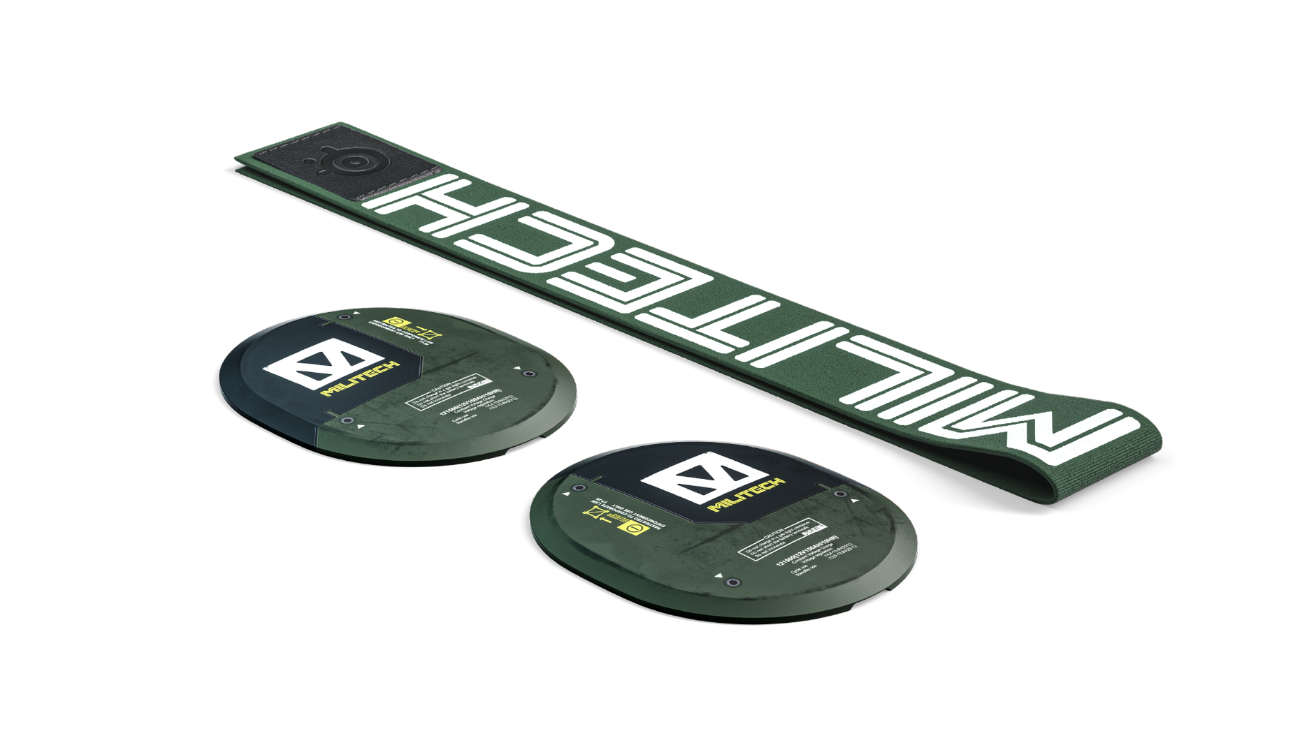 The Militech booster pack items are shown laying flat. Two ear cup plates and one ski goggle headband.