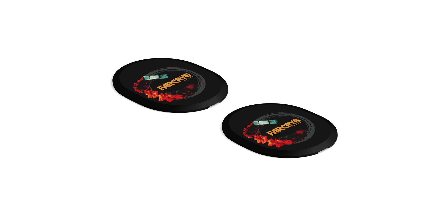 An angled view of the limited edition speaker plates with custom Far Cry 6 imagery.
