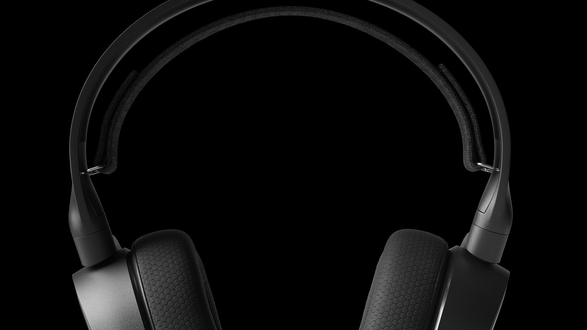 Arctis 3 along a black background contrasting the material details