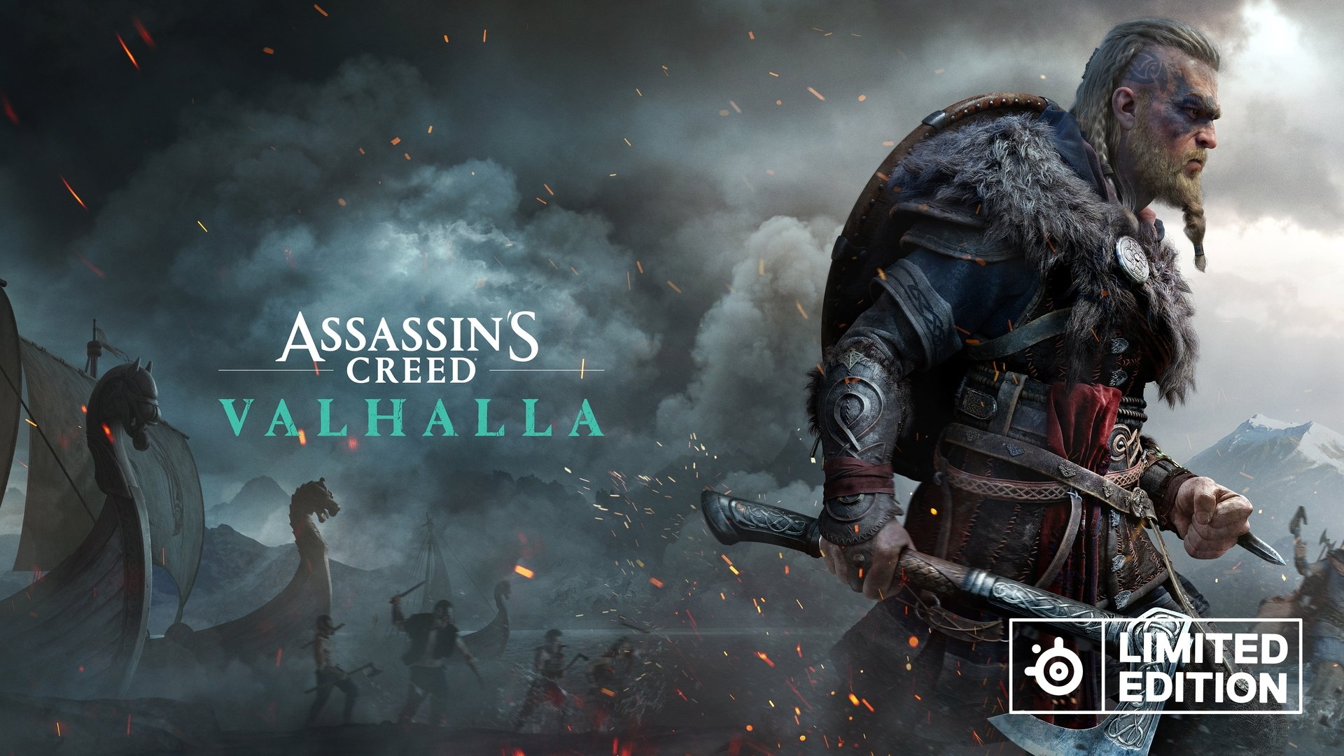 Assassin's Creed Valhalla image hero character wielding weapon