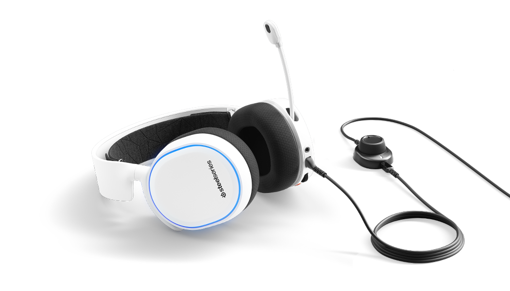 ARCTIS 5 White headset laying flat with microphone in extended position.