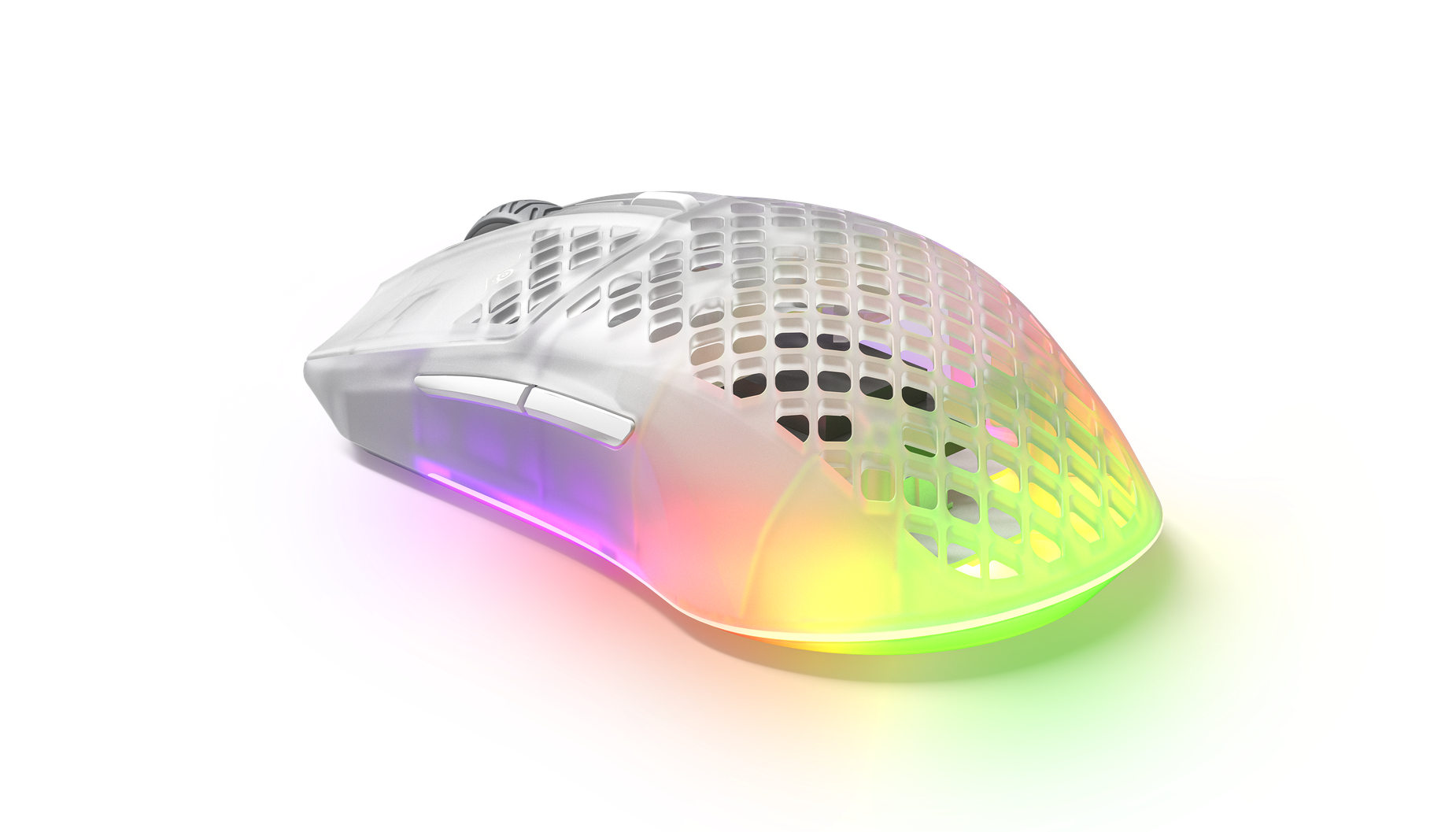 Angled view of the Aerox 3 Wireless mouse, showing off the sleek and lightweight holey design.