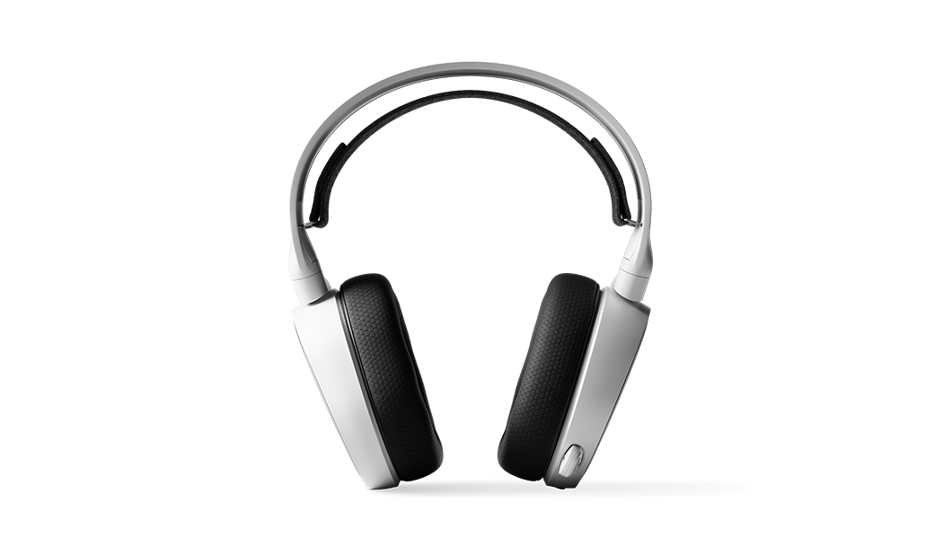 Arctis 3 White headset viewed straight onward with microphone in retracted position