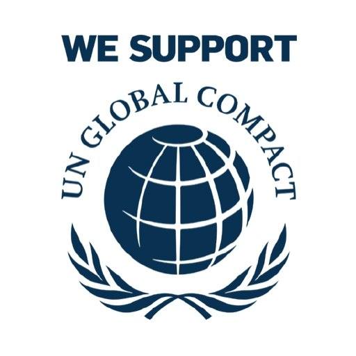 """UN Logo with text that read """"we support UN Global compact""""."""