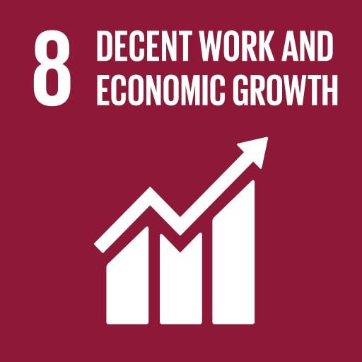 """UN sustainable development goal icon shows growth graph and text """"Decent work and economic growth""""."""