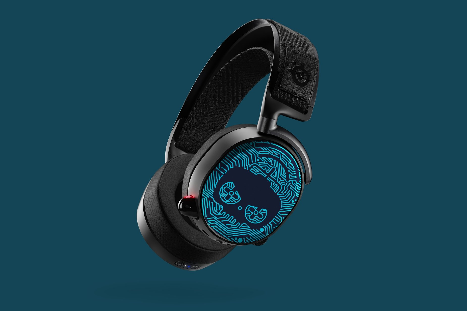 Image of the Rainbox Six speaker plates adorning the side of the Arctis headset