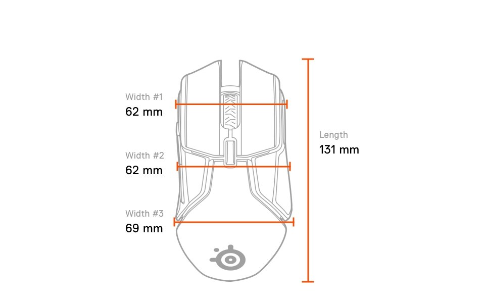 Rival 650 Wireless top dimensions: length 131mm, width #1 front 62mm, width #2 middle 62mm, width #3 rear 69mm