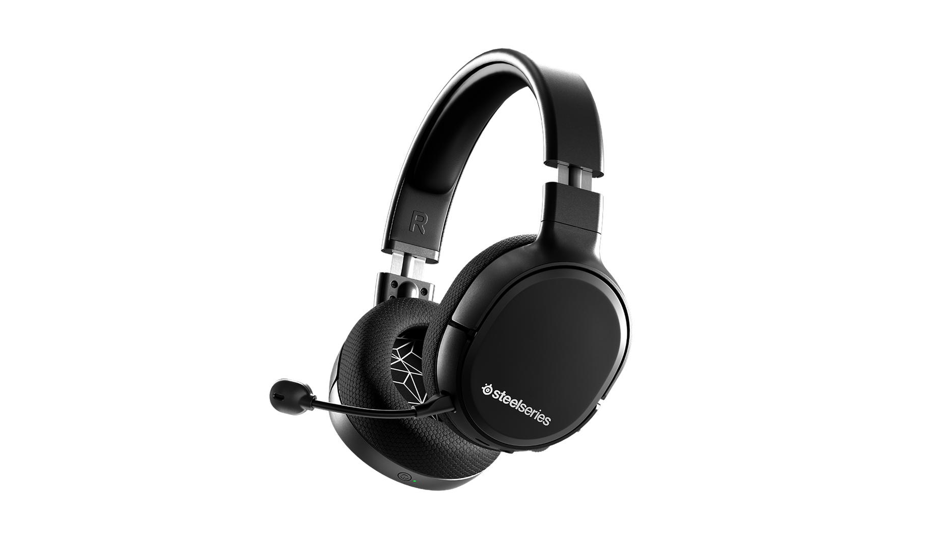 Arctis 1 Wireless gaming headset angled with microphone attached.