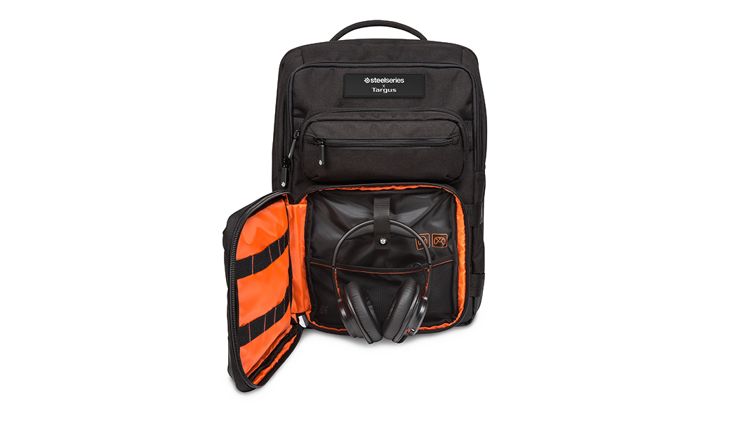 "Targus X SteelSeries Sniper 17.3"" Backpack, front flap open showing headset carrying space"