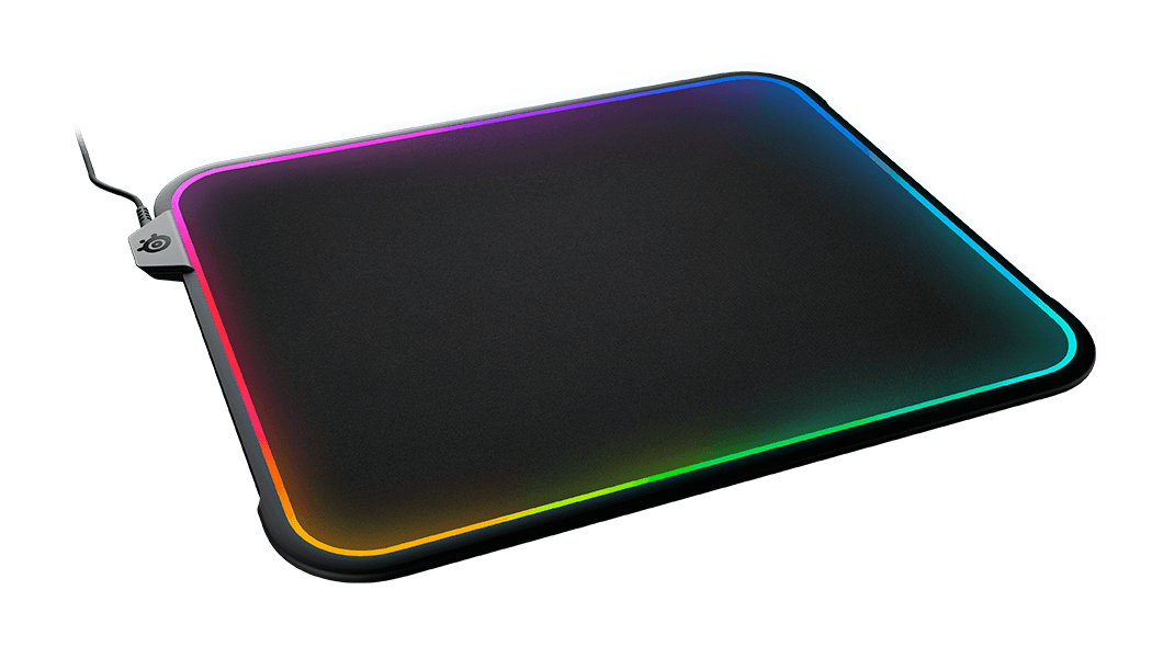 QCK Prism gaming mousepad with RGB around edges, slanted view