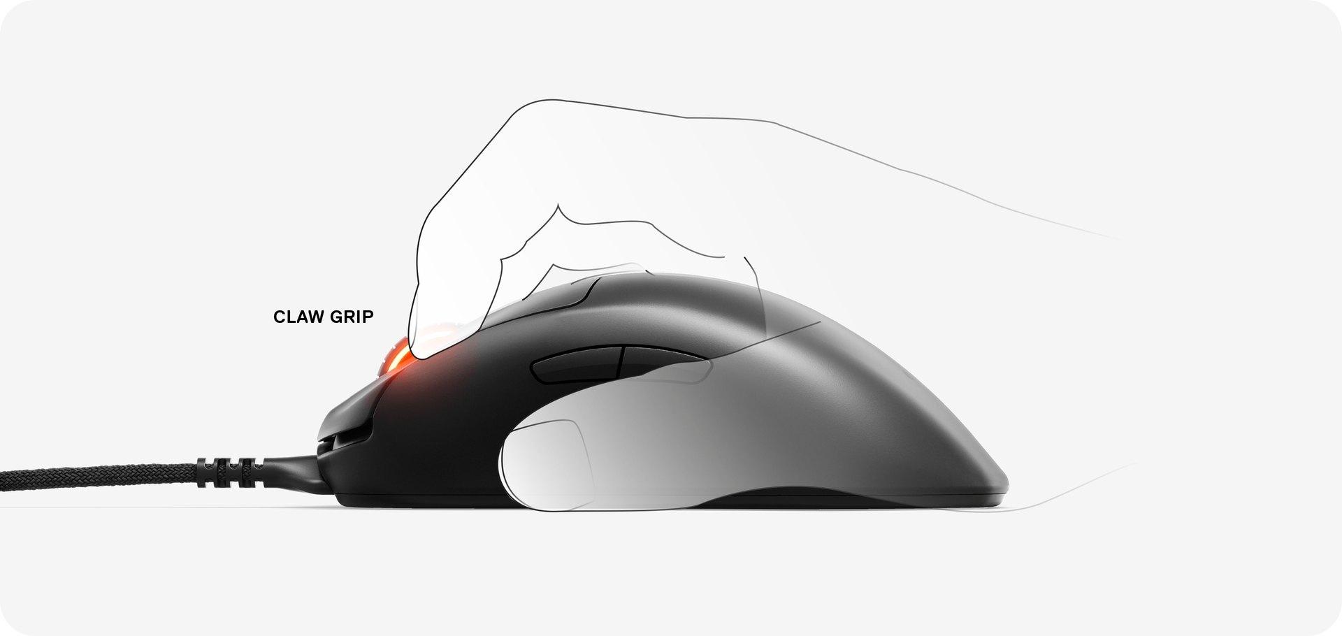 Illustration d'une main utilisant la souris Prime Plus avec une prise en main de type griffe.