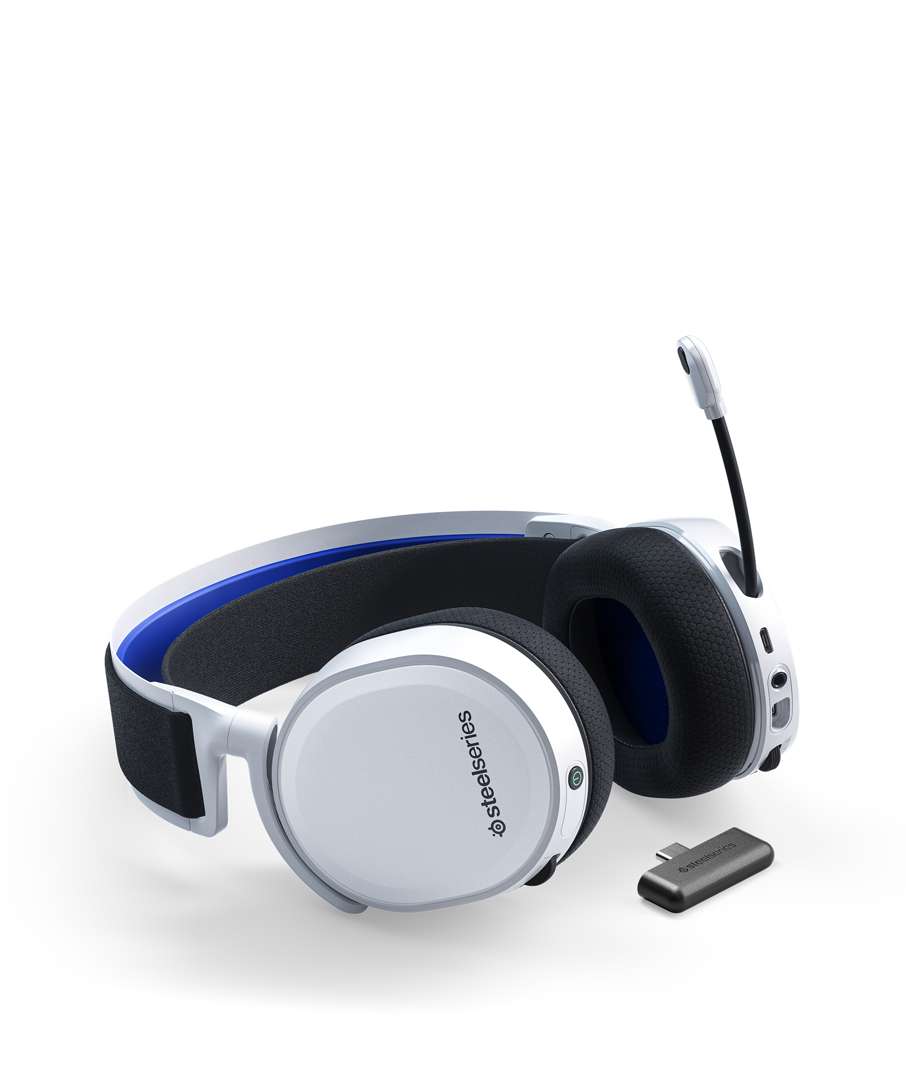 Arctis 7P headset laying flat with clearcast microphone in the extended position