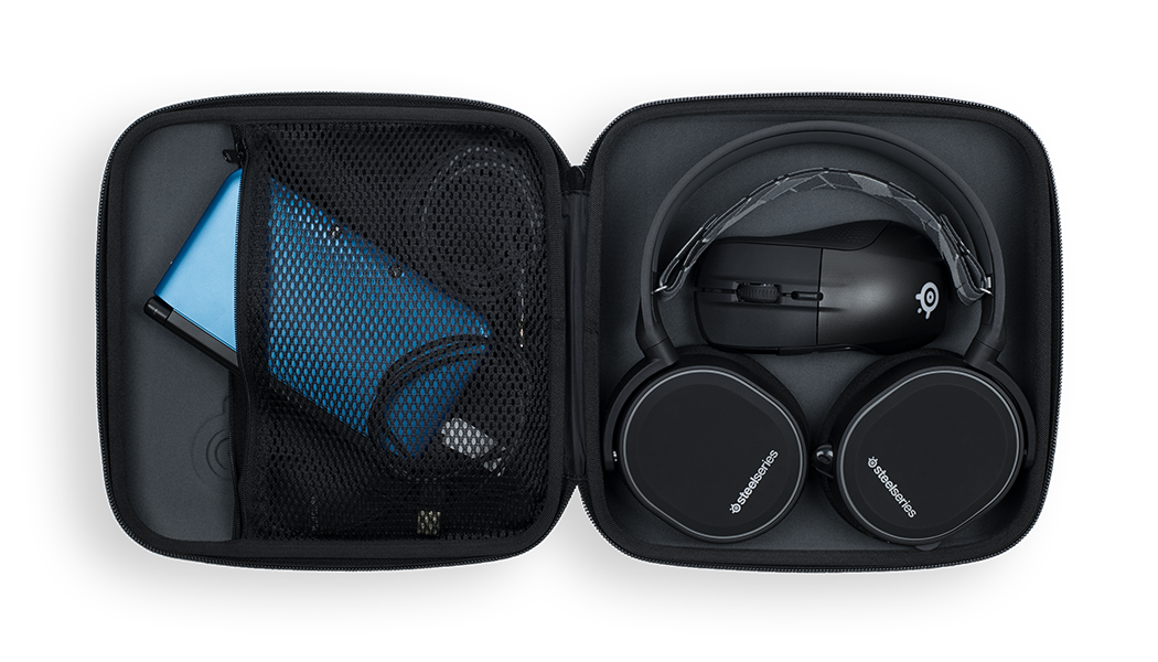 Arctis hard case open laying flat with headset, mouse, and other accessories inside
