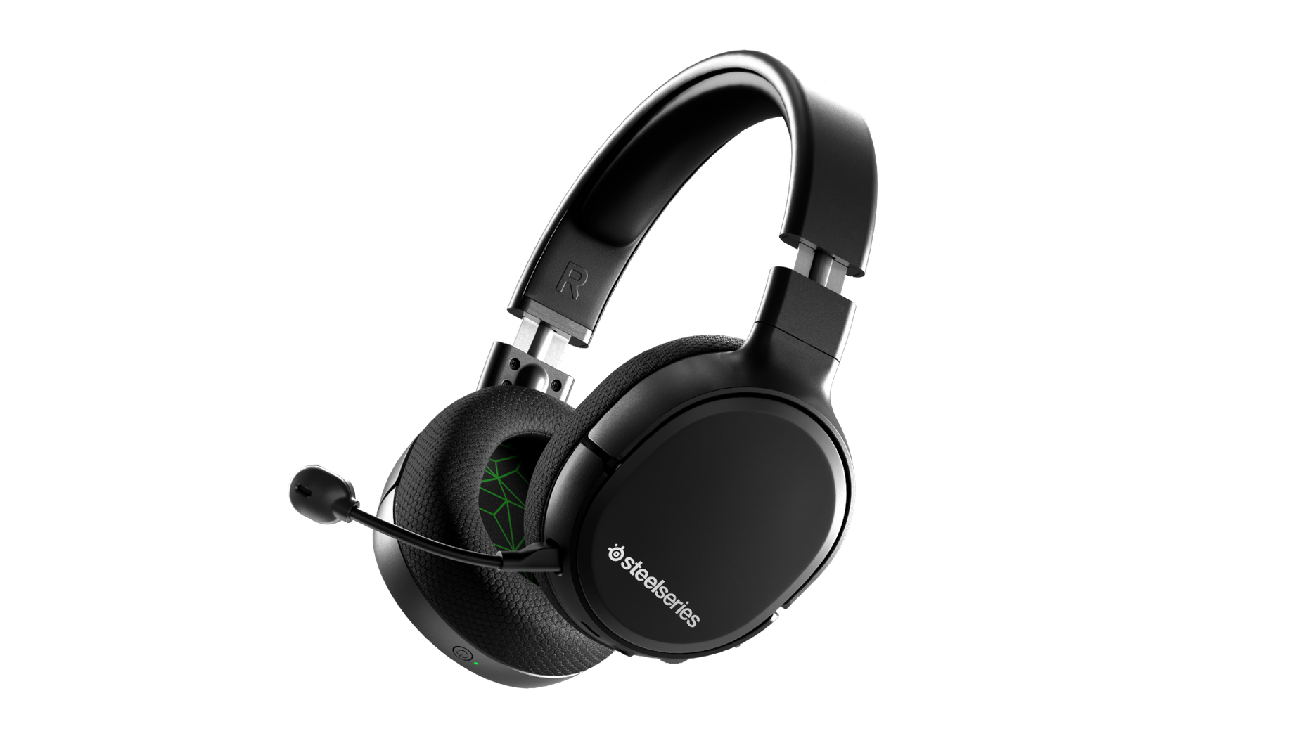 Vue de biais du casque audio de gaming Arctis 1 Wireless pour Xbox avec le micro attaché
