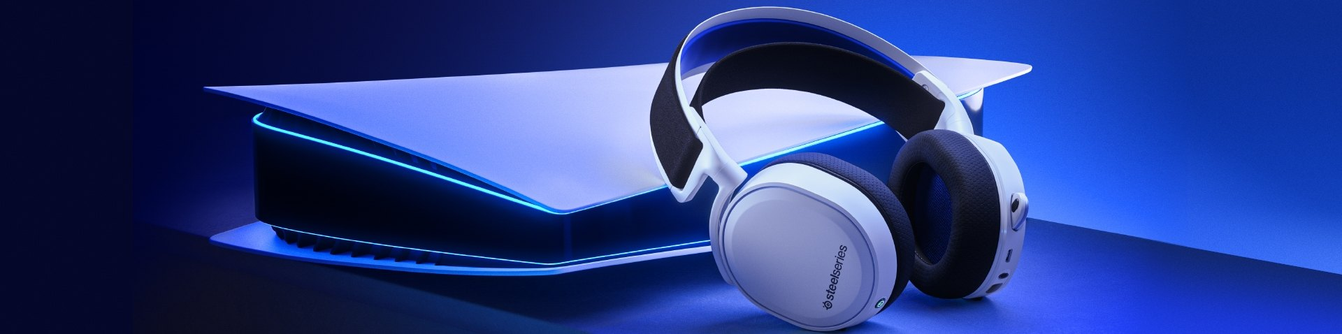 Image of Arctis 7P headset laying against the next Gen PlayStation 5 console