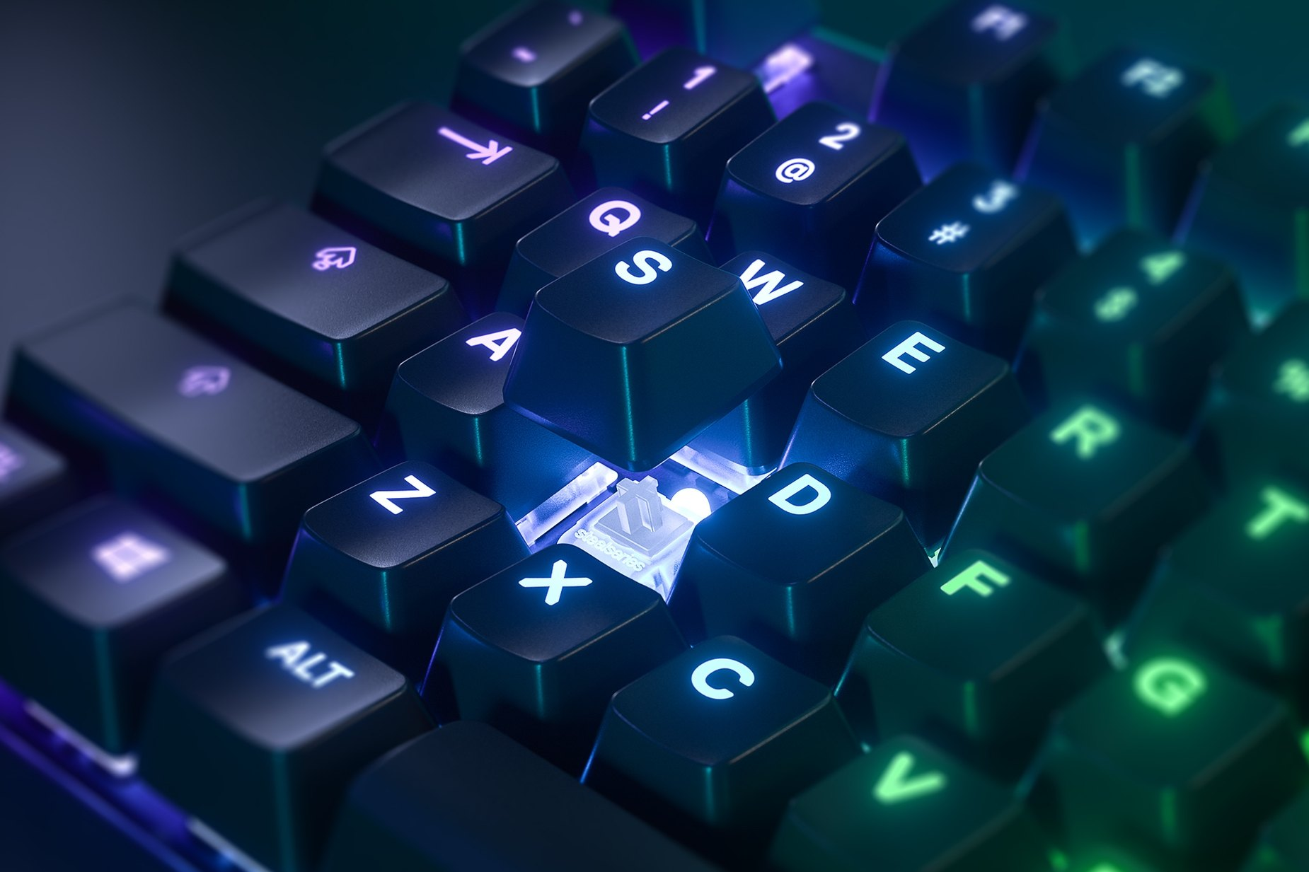 Zoomed in view of a single key on the French - Apex Pro TKL gaming keyboard, the key is raised up to show the SteelSeries OmniPoint Adjustable Mechanical Switch underneath